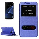For Galaxy S7 Edge Blue Silk Flip Solid Color Leather Case with Call Display ID