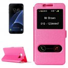 For Galaxy S7 Edge Magenta Silk Flip Solid Color Leather Case with Call Display ID