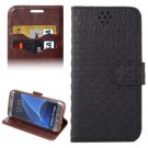 For Galaxy S7 Edge Black Grid Voltage Texture Flip Leather Case with Holder & Card Slots