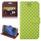 For Galaxy S7 Edge Green Grid Voltage Texture Flip Leather Case with Holder & Card Slots