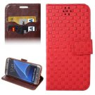 For Galaxy S7 Edge Red Grid Voltage Texture Flip Leather Case with Holder & Card Slots