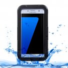 For Galaxy S7 Edge Black IPX8 Plastic + Silicone Transparent Waterproof Protective Case with Lanyard