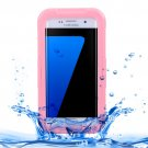 For Galaxy S7 Edge Pink IPX8 Plastic + Silicone Transparent Waterproof Protective Case with Lanyard