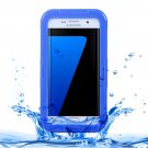 For Galaxy S7 Edge Blue IPX8 Plastic + Silicone Transparent Waterproof Protective Case with Lanyard
