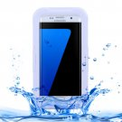 For Galaxy S7 Edge White IPX8 Plastic + Silicone Transparent Waterproof Protective Case with Lanyard