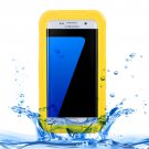 For Galaxy S7 Edge Yellow IPX8 Plastic + Silicone Transparent Waterproof Case with Lanyard