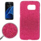 For Galaxy S7 Edge Magenta Fashionable Flash Powder Back Cover Case