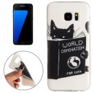 For Galaxy S7 Edge Black Cat Words Pattern TPU Protective Case