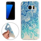 For Galaxy S7 Edge Blue Leaves Pattern TPU Protective Case