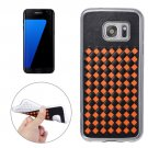 For Galaxy S7 Edge Orange Knit Pattern PU Leather + TPU Protective Case