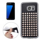 For Galaxy S7 Edge Gold Knit Pattern PU Leather + TPU Protective Case