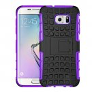 For Galaxy S7 Edge Purple Tire Texture Combination Case with Separable Black Holder