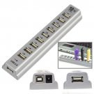 10 Port USB 2.0 Hi Speed Multi Hub Expansion with Power Adaptor for PC & Laptop