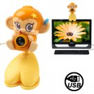 USB 2.0 Cartoon Monkey Style 0.48 Mega Pixels Driverless PC Camera / Webcam
