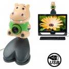 USB 2.0 Cartoon Hippo Style 0.48 Mega Pixels Driverless PC Camera / Webcam