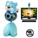 USB 2.0 Cartoon Bear Style 0.48 Mega Pixels Driverless PC Camera / Webcam