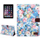 For iPad Air 2 Blue Flower Pattern Leather Case with Holder, Card Slots & Sleep Function