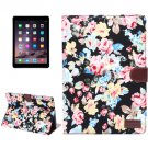 For iPad Air 2 Black Flower Pattern Leather Case with Holder, Card Slots & Sleep Function