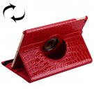 For iPad Air 2 Red 360° Rotation Crocodile texture Leather Case with 3 Gears Holder