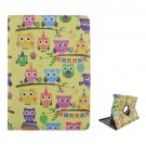 For iPad Air 2 / iPad 6 360° Rotation Owls Pattern Leather Case with 2 Gears Holder