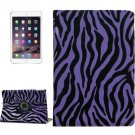 For iPad Air 2 Purple 360° Rotation Zebra Pattern Leather Case with 3 Gears Holder
