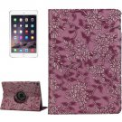 For iPad Air 2 Purple 360° Rotation Grape Pattern Leather Case with 3 Gears Holder