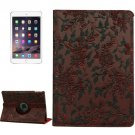 For iPad Air 2 Red 360° Rotation Grape Pattern Leather Case with 3 Gears Holder
