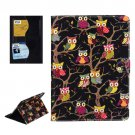 For iPad Air 2 / iPad 6 Owls Pattern Black Cross Smart Cover Leather Case with Card Slots & Holder