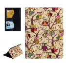 For iPad Air 2 / iPad 6 Owls Pattern Gold Cross Smart Cover Leather Case with Card Slots & Holder