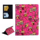 For iPad Air 2 / iPad 6 Owls Pattern Magenta Cross Smart Cover Leather Case with Card Slots & Holder