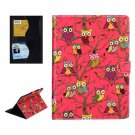 For iPad Air 2 / iPad 6 Owls Pattern Red Cross Smart Cover Leather Case with Card Slots & Holder