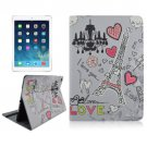 For iPad Air 2 / iPad 6 Eiffel Tower Pattern Smart Cover Leather Case with Holder
