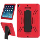 For iPad Air Red Silicone + Hard Plastic Combination Case with Collapsible Holder