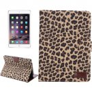 For iPad Mini 1/2/3 Yellow Leopard Texture Leather Case with Card Slots & Holder