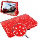 For iPad Mini 1/2/3 Red Diamond Palace Flower Pattern Leather Case with Holder