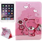 For iPad Mini 1/2/3 Bear Pattern Flip Leather Case with Holder, Card Slots & Wallet