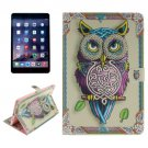 For iPad Mini 1/2/3 Owl Pattern Leather Case with Holder, Card Slots & Wallet