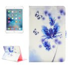 For iPad Mini 4 Flower Pattern Diamond Encrusted Flip Leather Case with Holder