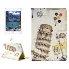 For iPad Mini 4 Leaning Tower Pattern Horizontal Flip Leather Case with Holder