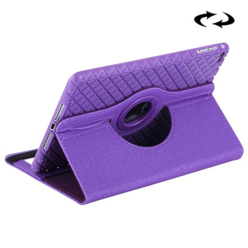 For iPad Mini 4 Purple Denim Leather Case with 360° Rotation Holder, Card Slots & Wallet