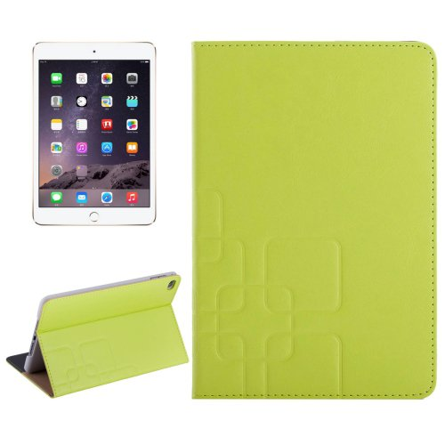 For iPad Mini 4 Green Crazy Horse and Lattice Texture Leather Case with Holder and Card Slots