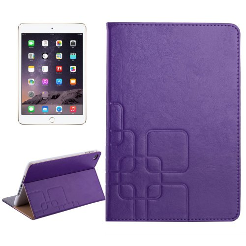 For iPad Mini 4 Purple Crazy Horse and Lattice Texture Leather Case with Holder and Card Slots