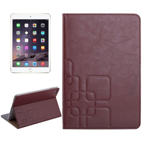 For iPad Mini 4 Brown Crazy Horse and Lattice Texture Leather Case with Holder and Card Slots