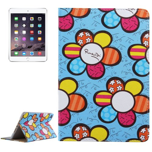 For iPad Mini 4 Blue Sunflower Pattern PC + PU Leather Case with Holder & Card Slots