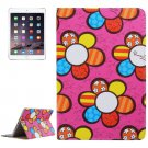For iPad Mini 4 Magenta Sunflower Pattern PC + PU Leather Case with Holder & Card Slots