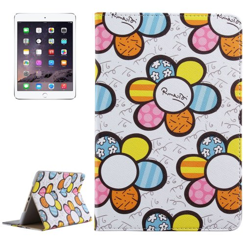 For iPad Mini 4 White Sunflower Pattern PC + PU Leather Case with Holder & Card Slots