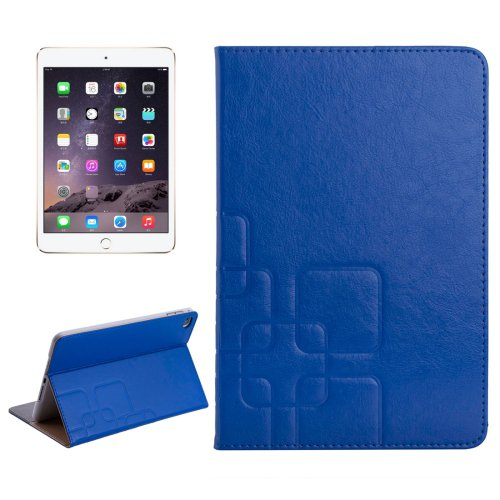 For iPad Mini 4 Dark Blue Crazy Horse/Lattice Texture Leather Case with Holder and Card Slots