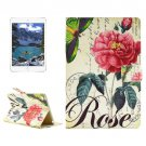 For iPad Mini 4 Rose Pattern Horizontal Flip Leather Case with Holder