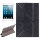 For iPad Mini 4 Black Transformers Style Silk Texture Solid Color Leather Case with Holder