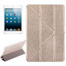 For iPad Mini 4 Gold Transformers Style Silk Texture Solid Color Leather Case with Holder